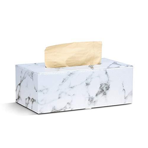 KDEKIFN Caja de pañuelos faciales de Cuero PU de mármol Rectangular Caliente, Soporte para servilletas, dispensador de Toallas de Papel, contenedor para decoración de Coche de Oficina en casa