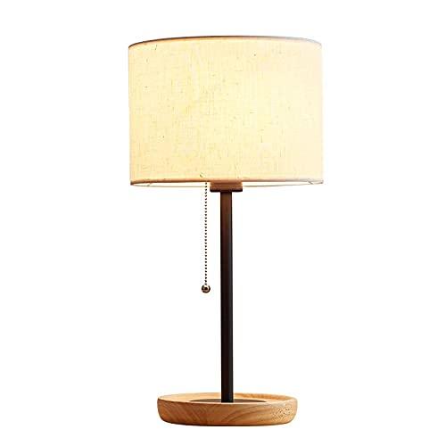 MAVL Lámparas de mesita de Noche- Base de Madera Maciza Lámparas de mesita de Noche Modernas, lámparas de Escritorio Simples para Dormitorio, Sala de Estar, Oficina -Alta