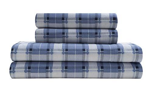 Torrey Lane 100% Cotton Flannel Sheets, Tartan PLD-Blue, King