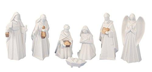 Geschenkestadl Krippenfiguren 7-teiliges Set Krippe Figuren in Weiss Größe bis 13 cm