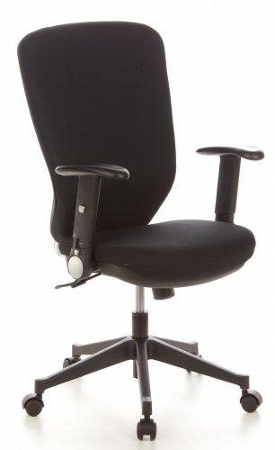 hjh OFFICE 653630 Sedia da ufficio/Sedia girevole TRAFFIC 30 tessuto nero, schienale alto, sedile ergonomico, braccioli ribaltabili, regolabile in altezza, eccanismo sincronizzato