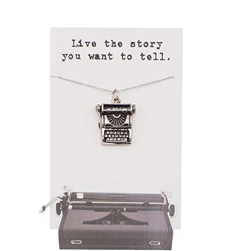 Quinnlyn & Co. Typewriter Pendant Necklace, Birthday Gifts for Women with Inspirational Quote on Greeting Card