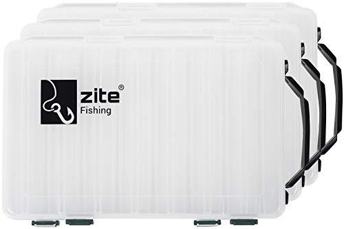 Zite Fishing Angelbox-Set - 3 Stück Tackle-Boxen 27cm 2-Seitig - Kunststoff-Box Köderbox Angel-Köder Hardbaits-Box
