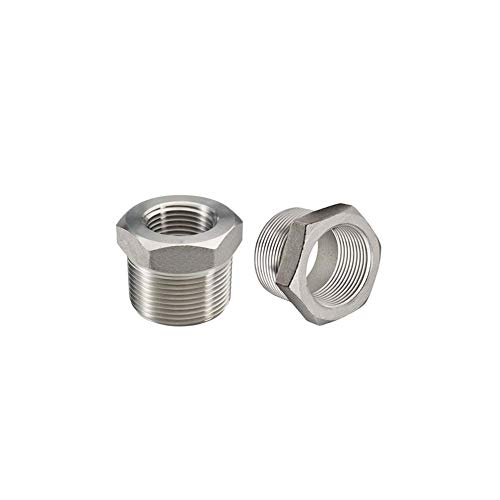 Beduan Stainless Steel Reducer Hex Bushing, 1/2 Male NPT to 1/4 Female NPT, Reducing Cast Pipe Adapter Fitting (Pack of 2)