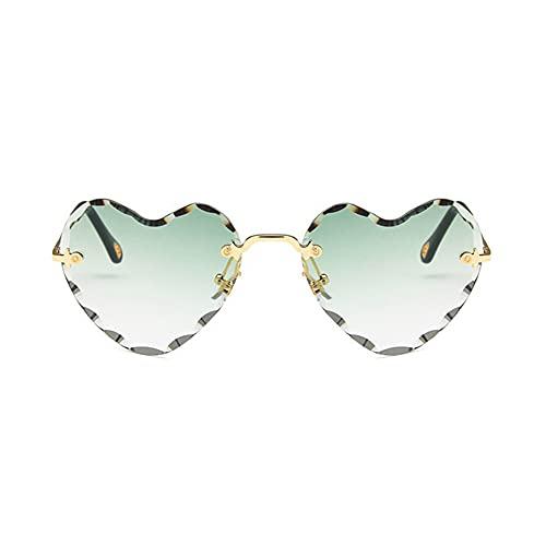 HAIGAFEW Gafas De Sol con Forma De Corazón Bonitas para Mujer Lentes Coloridas Ojo De Gato Gafas De Sol De Lujo para Viajar Gafas De Conducción Sin Montura Gradientes Uv400 Proteger Los Ojos-Gradient