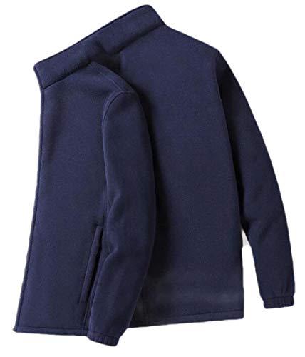 Sweetmini Herren Fashion Mantel groß und hoch flauschig flauschig Fleece Reißverschluss Jacke Gr. XX-Small, dunkelblau