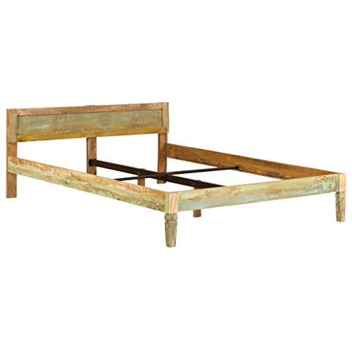 ROMELAREU Bettrahmen Mangoholz Massiv mit Altholz-Finish 1,6 m Möbel Betten & Zubehör Betten & Bettgestelle