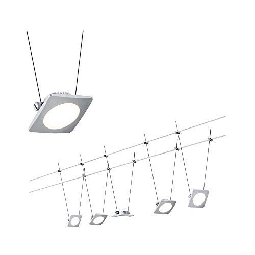 Paulmann 941.11 Seilsystem QuadLED Set erweiterbar Warmweiß 5x4W LED Chrom matt 94111 Seilleuchte Hängeleuchte