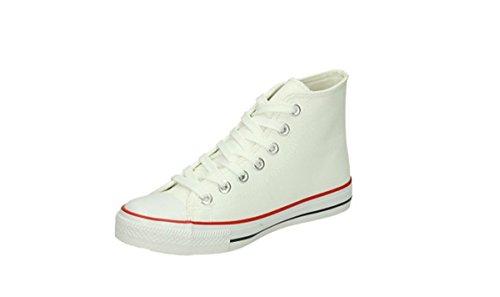 JUMEX Herren Schuhe Schnürschuhe High Sneakers hoch Boots Vintage weiß, Grösse: 42