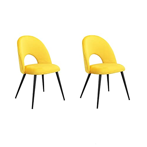 Un set di 2 sedie vuote per il tempo libero, superficie in velluto morbido e sedie in ferro, adatte per soggiorno, camera da letto, sala da pranzo casual, bar, ecc. (giallo)