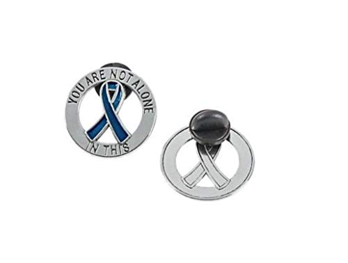 You Are Not Alone Blue Awareness Ribbon Pin Show Your Support For Colon Cancer, Colorectal Cancer, Child Abuse, Respiratory Disease, Sex Trafficking, Arthritis