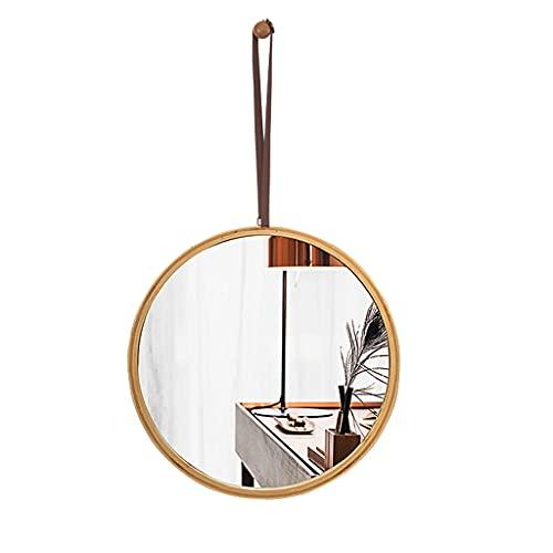 Espejo de baño Espejos de Pared, Espejo de Dormitorio, Espejo de Sala de Estudio Espejo Redondo de bambú Grueso y Marco de Madera Elegante y Simple (Color de Madera Real, 45 x 45 cm)