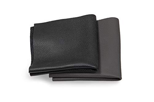 Recortes de cuero - restos de cuero negro, restos de cuero, tamaños grandes, ideal para bolsos, zapatos, reparaciones, decoraciones, manualidades, 1 kg, tamaño A4