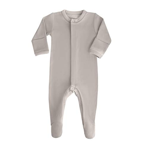 Baby Boy Girl Organic Cotton Snap Front Footed Sleeper with Mittens in Neutral Color Oatmeal