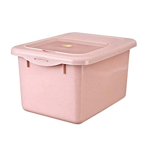 Juego de recipientes para alimentos y dulces para mascotas con cuchara para gatos o perros, 15 L, caja de almacenamiento de alimentos sellada a prueba de humedad, color rosa