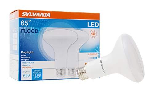 SYLVANIA LED Flood BR30 Light Bulb, 65W Equivalent, Efficient 9W, E26 Medium Base, Dimmable 5000K Daylight, 2 pack