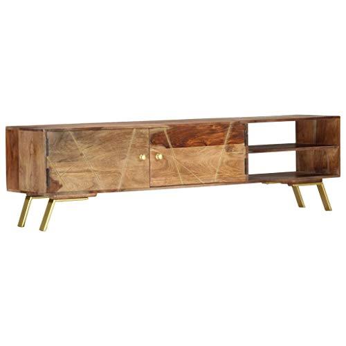 vidaXL Sheesham-Holz Massiv TV Schrank mit 2 Türen 2 offenen Fächern Lowboard TV Möbel Board Fernsehtisch Fernsehschrank Sideboard 140x30x40cm