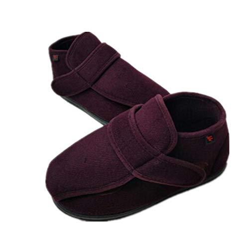 B/H Verstellbare Hausschuhe Bequeme,Herbst/Winter Diabetikerschuhe.Daumen Valgus Fuß Schwellung Schuhe-40_Red Wein,Verstellbare Diabetische FußSchuhe