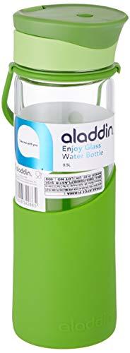 Aladdin Glas-Trinkflasche Enjoy, 500ml, Grün, mit Schutz-Hülle, aus Silikon, Auslaufsicher, Bruchsicher, Glasflasche