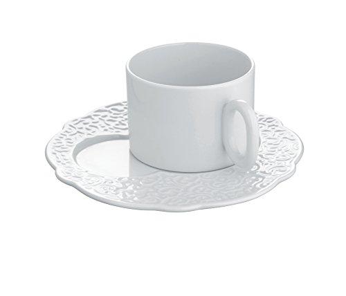 Alessi Mw01/94 Dressed Assiette à Déjeuner en Porcelaine Blanche avec Décoration en Relief, Set de 4 Pièces
