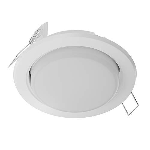 ledscom.de LED Einbaustrahler Zobe flach GX53 weiß matt rund 6.3W=40W 450lm warm-weiß 107mm Ø Lochkreis 90mm Ø