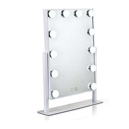 Waneway Espejo Maquillaje Iluminado con 12 X 3W Bombillas LED Ajustable Y Diseño De Control Táctil, Espejo de Tocador Mesa con Luz LED Estilo Hollywood, Espejo Cosmético con Luces, Blanco