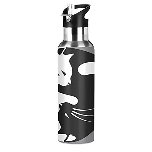 Yinyang Tai Chi Cat Animal Sports Botella de agua con pajita aislada al vacío, botella de agua térmica de acero inoxidable para adultos, mujeres, hombres, niñas, niños y niñas, escuela, correr, 600 ml