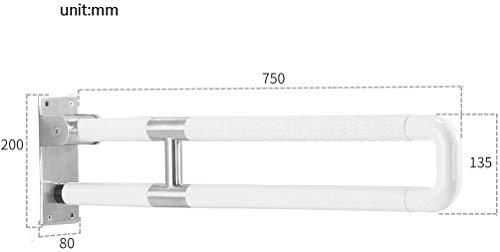 MXZBHSalle de Bains Rampe à Double Tige, la poignée de Pliage Acier d'armature retroussé Nylon Blanc (Design: B, Taille: 75CM)