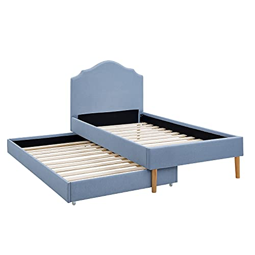 BIKAHOM Kids Upholstered Platform Bed,Linen Twin Bed with Trundle for Kids/Toddler, Scalloped Silhouette Headboard - Strong Wood Slat Support & No Box Spring Needed,Sky Blue