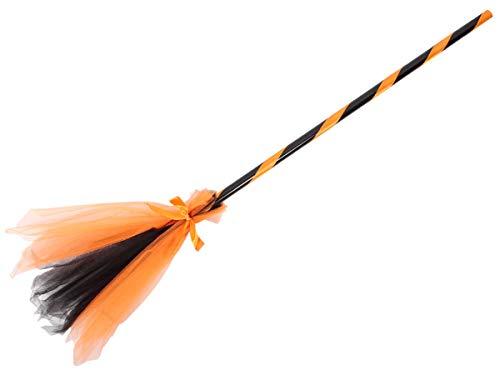 Alsino Hexenbesen Zauberbesen Halloween Karneval Accessoire - Länge: ca. 92 cm in Schwarz LG-9631 (orange)