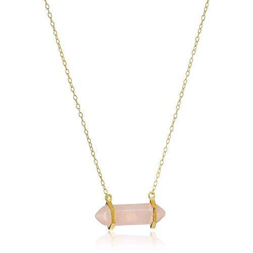 18K Yellow Gold-Plated .925 Sterling Silver Rose Quartz Gemstone Crystal Horizontal Chakra...
