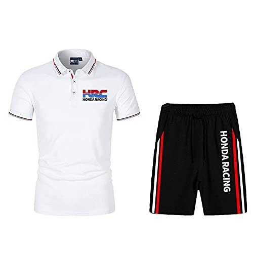 QIZIFAFA Abbigliamento Sportivo Uomo Set, Polo Due Pezzi Camicie T-Shirt Pantaloncini Maniche Corte H.O.N-da HRC, Uomo Running T-Shirt Abbigliamento da Allenamento,Bianca,M/Medium