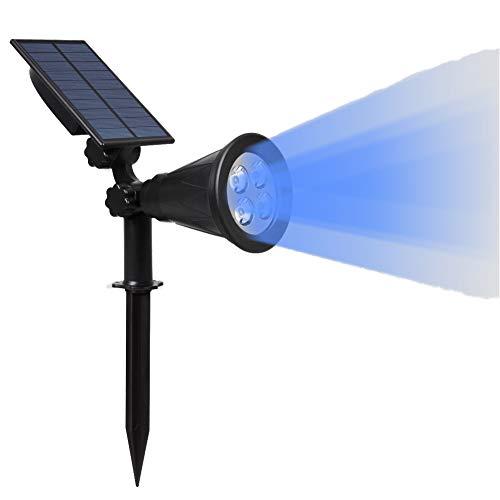 NZHK Luz Solar Al Aire Libre, 4 LED Focos Paisaje Solar IP65 Resistente Al Agua con Energía Solar Luz A La Pared 2-En-1 Inalámbrico Al Aire Libre Encendido/Apagado Automático Iluminación,Azul