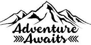 Chase Grace Studio Adventure Awaits Outdoors Hiking Camping Mountains Vinyl Decal Sticker|BLACK|Cars Trucks Vans SUV Laptops Wall Art|6.5