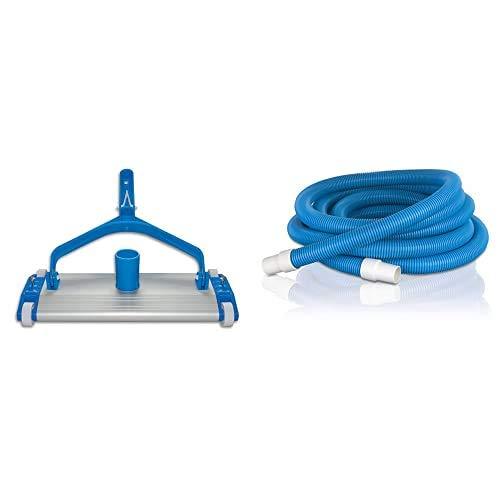 Productos QP 500340C Limpiafondos metálico, fijación Clip, 335 mm + Gre 40001 Manguera de 2 Terminales para Limpiafondos de Piscina, 38 mm, 8 m