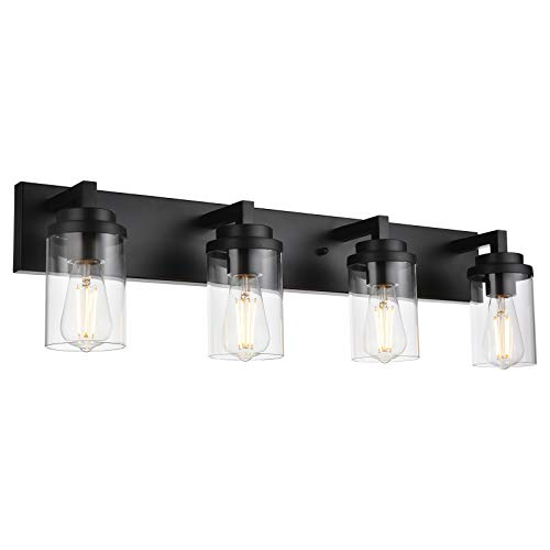 MELUCEE 4-Light Vanity Lights Over Mirror, Farmhouse Bathroom Light Fixtures Black with Clear Glass Shade, Industrial Wall Mount Lamp for Bedroom Kitchen Hallway
