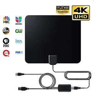 Digitale HDTV-Antenne (2020 Frühauslösung), 50 bis 80 km verstärkte Reichweite, 1080p & 4K UHD-TV-kompatibel, 3,8 m Kabel