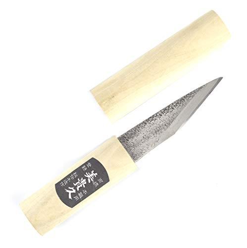 Coltello artigianale Kiridashi Katana con lama in carbonio semi curva, per falegnameria, forgiato a mano in Giappone (martellato)