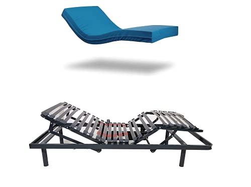 Pack Imperial Confort - Colchón viscoelástico geriátrico + Cama articulada con Motor eléctrico - 90x190 cm