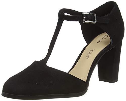 Clarks Kaylin85 Tbar, Zapatos de Tacón Mujer, Negro (Black SDE Black SDE), 39 EU