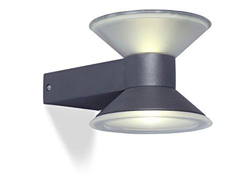 Eco Light Moderne buitenwandlamp Cone, met twee lichtpunten, up en downlight, 6 LED, 6 W, 12 cm diameter, 270 lm, IP54 1877 S GR