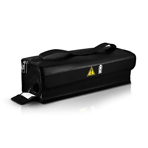 Wheeloo feuerfeste Akku Tasche für E-Bike Fahrradakku & LIPO Batterie I inkl. Klettverschluss, Reißverschluss, Kabeldurchführung für Lagerung, Transport, Aufladung I 39 x 11 x 11 cm I explosionssicher