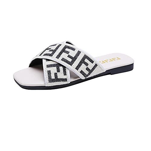 MDCGL Zapatos Playa Piscina Sandalias con Chanclas de Fondo Plano de Verano para Mujer, Zapatillas de baño para niña, Zapatos Impermeables para Ducha, Zapatos Blancos EU41