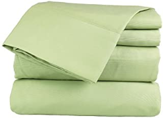 Ethereal Bedding Ultra Soft 650-Thread Count Laura Hill Home Egyptian Cotton Rich 4-PC Luxury Sheet Set King Solid Sage Green Fit Upto 18'' Inches Deep Pocket