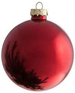 Moranduzzo 580007500 12 Palle di Natale, Vetro Soffiato, Rosso Metallizzate e Satinate, 37 x 38 x 31 cm