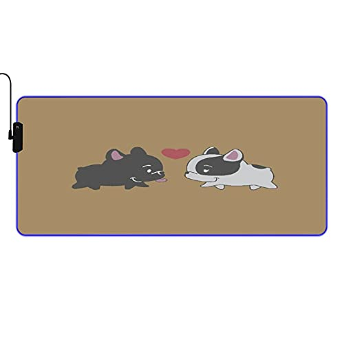 MISCERY Glowing Mouse Pad,French Baby Bulldog in Love,Rectangular Gaming Mouse Pads, for Laptop Computer PC Games Office Home, Anti-Slip Rubber Base Computer Mouse Mat