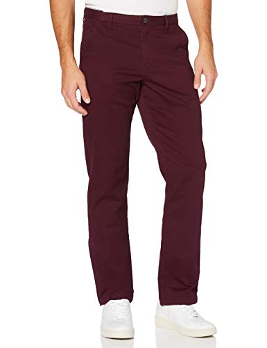 Amazon-Marke: MERAKI Herren Baumwoll Regular Fit Chino Hose, Rot (Burgunderrot), 42W / 32L, Label: 42W / 32L