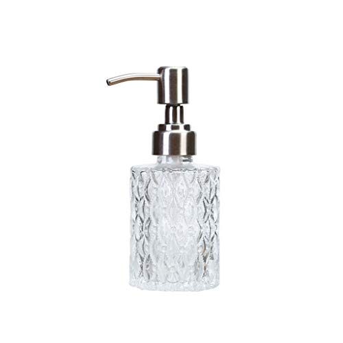 WZNING Glass Hand Soap Dispenser with Rustproof Pump, Clear Glass Soap Dispenser for Bathroom Kitchen Countertop, Home Bathroom Accessories housewares,Dispenser (Size : A)