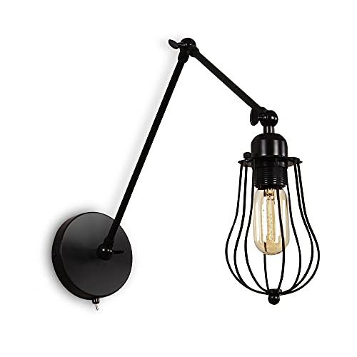 MantoLite Apliques de Pared Industriales Lámpara de Iluminación Ajustable Vintage Con Interruptor Lámpara de Alambre Rústico Jaula de Metal Luz de Sombra de Estilo Edison(Negro, Bombilla Incluida)