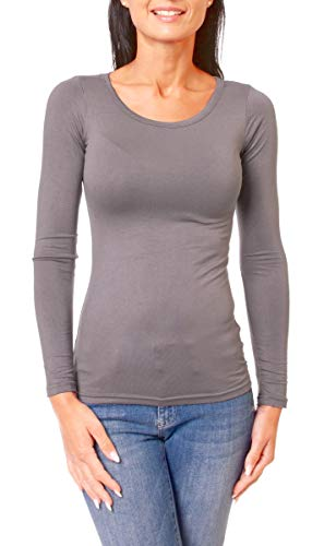 Easy Young Fashion Damen Basic Langarmshirt Skiny Fit Langarm Unterziehshirt Longsleeve Shirt mit Rundhals-Ausschnitt Dunkelgrau M 38